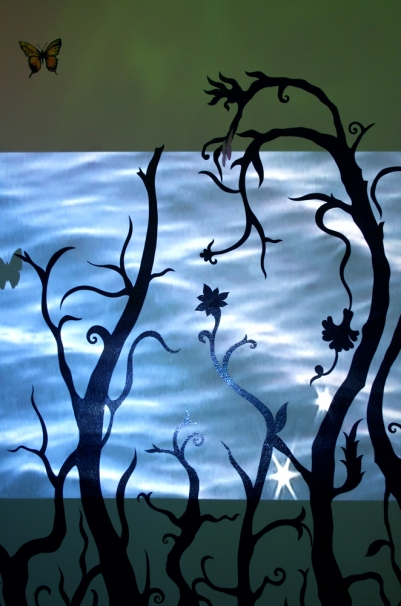 Ketta Ioannidou Mediterranean Jungle Paradise  adhesive vinyl, video projection, gouache on acetate, monofilament