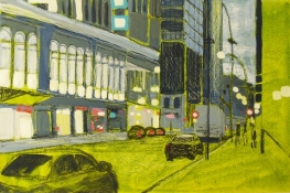 Kim Atlin urban masquerade paintings oil and acylic on canvas