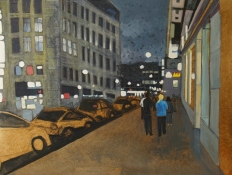 Kim Atlin urban masquerade paintings oil on canvas