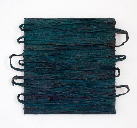 KimHAN Combined Media Pigment, Fabric, Wires on Wood