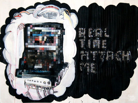 Kimberly Reinhardt Technology Has Hijacked Mixed Media on paper