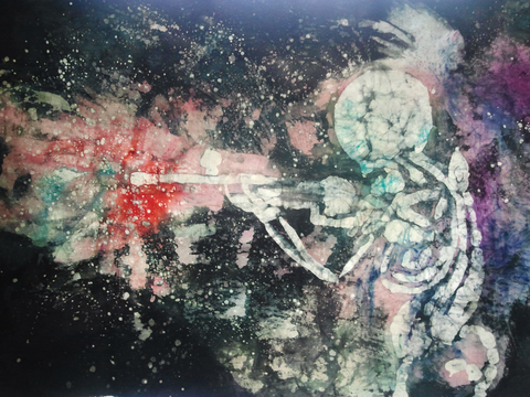 Kimberly Reinhardt Silkscreen Paintings Resist Dye on Canvas