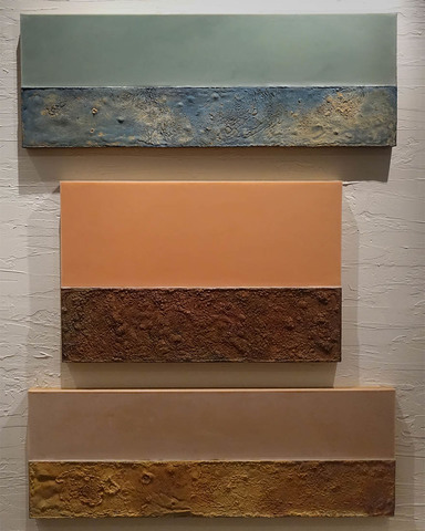 K  R  I  S   C  O  X  constructed paintings : beeswax and ... cast pigmented beeswax, cast patinated lead on Baltic birch ply panels