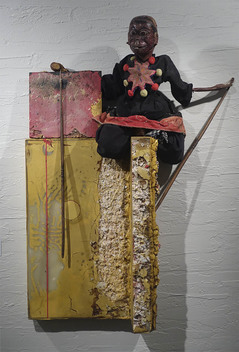 K  R  I  S   C  O  X  sculpture & vessels Indonesian puppet, beeswax, pigmented wood putty, on wood panel