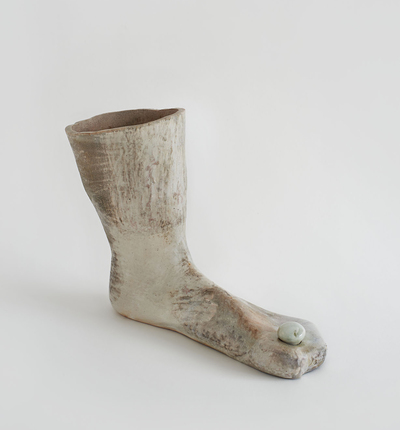 KRISTEN JENSEN Some work wood fired porcelain with shino and mother of pearl luster glazes