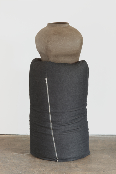 KRISTEN JENSEN Some work stoneware, denim, metal, and cotton fabric from a worn pair of pants