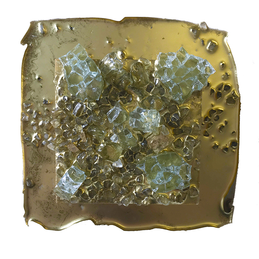 Kristin Schattenfield-Rein Recent Work Glass, Gold Leaf, Gold Dust, Glass Shards, Oil & Acylic Ink on Birch Panel