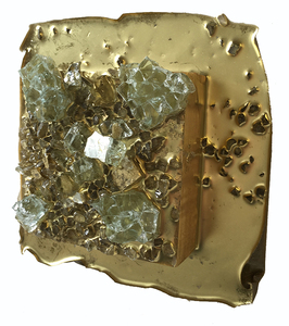 Kristin Schattenfield-Rein The Liminal Gates Glass, Gold Leaf, Gold Dust, Glass Shards, Oil & Acylic Ink on Birch Panel
