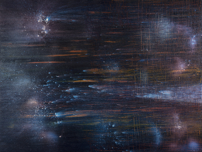 Kristin Schattenfield-Rein We Are All Made Of Stars Oil, Interference, Enamel on Canvas