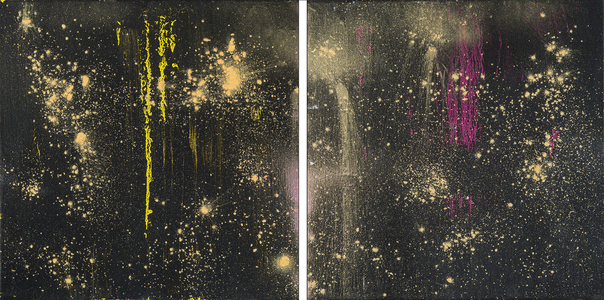 Kristin Schattenfield-Rein We Are All Made Of Stars Oil, Gold Dust, Enamel on Canvas