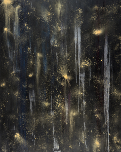 Kristin Schattenfield-Rein We Are All Made Of Stars Oil, Gold Dust, Interference, Enamel on Canvas