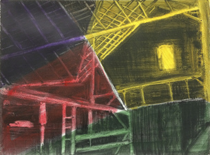 KURT LIGHTNER Cathedrals of Work Series Acrylic on gessoed waterolor paper