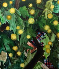 KURT LIGHTNER Fruit Pickers Acrylic on Canvas with collage