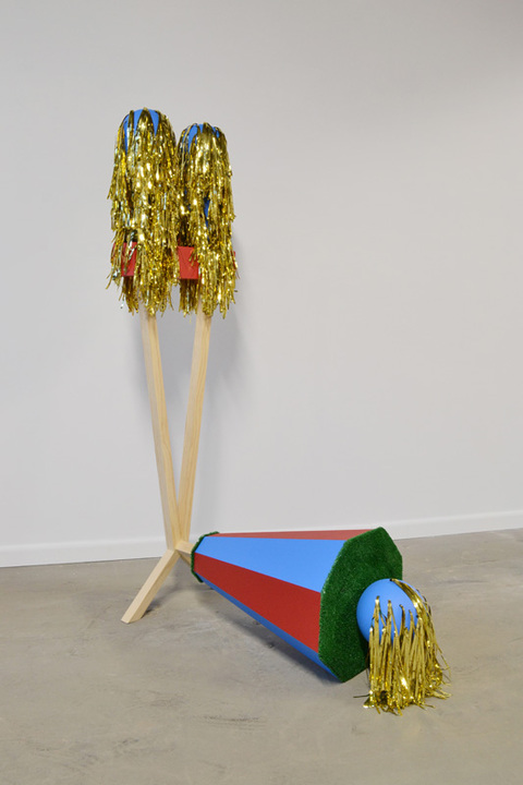 Sculpture slip cast porcelain, wood, metal, paint, Formica, Astroturf, streamers