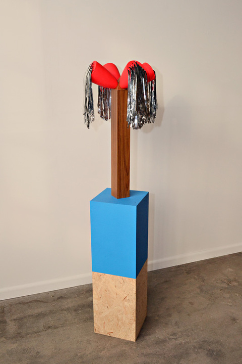 Sculpture plywood, Formica, slip cast porcelain, streamers, paint