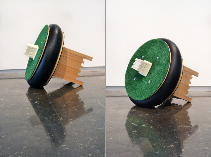 Sculpture wood, rubber, astroturf, slip cast porcelain, metal