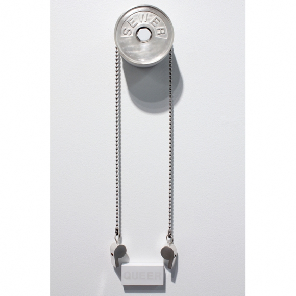 KYLE PATNAUDE Interzone painted brass, ball chain, wood, sterling silver, silverpoint