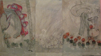 Kyujin Lee Work In Process ink, watercolor, acrylic, ball-pointed pen, colored pencil, pastel, tissue paper on foam-core board
