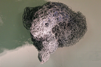 Larry Dell Metal/Fabric Sculpture Chicken Wire, steel wire, spray paint