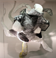 Larry Dell Metal/Fabric Sculpture Chicken wire, steel wire, fabric, spray paint, acrylic paint