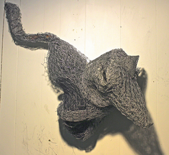 Larry Dell Metal/Fabric Sculpture Chicken wire, fabric, steel mesh.