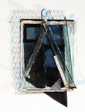 Larry Dell Metal, Glass, Fabric Plate glass, metal mesh, screen fabric, acrylic paint, leather