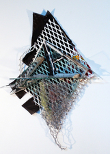 Larry Dell Metal, Glass, Fabric Plate glass, fabrics, acrylic paint, chicken wire,