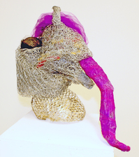 Larry Dell Metal/Fabric Sculpture Chicken wire, steel wire, painted metal mesh, toile fabric.