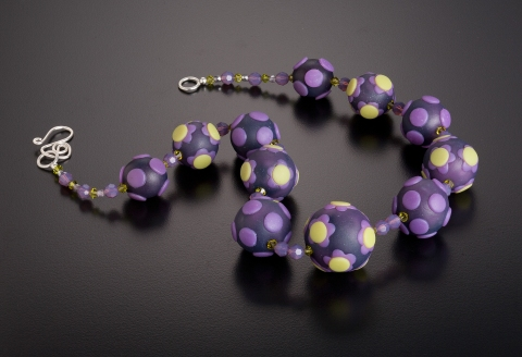 Laura Appelman 2012:  Early Spring Collection Polymer clay, Swarovski crystal, sterling silver clasp
