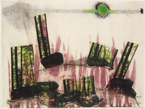 Laura Bell Selected Collage and Mixed Media on Paper mixed media and photos on both sides of vellum sheet