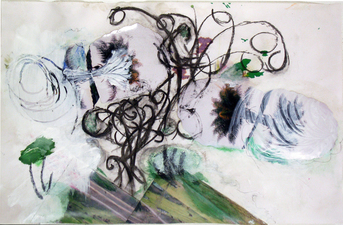 Laura Bell Selected Mixed Media and Works on Paper acrylic, charcoal, and photos on both sides of vellum tracing paper