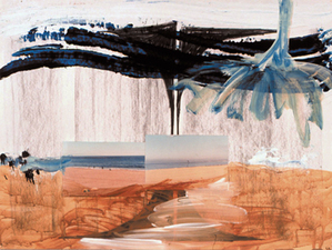 Laura Bell Selected Mixed Media and Paintings on Paper Acrylic, charcoal, and photos (shoreline) on vellum tracing paper