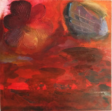 Laura Bell Selected Paintings Oil, cloth flower, laser prints (Great Array, New Mexico) on wood