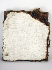 "Laura Bell Selected ""Books"" series Found carpet, gessoed on back side, on found wood"