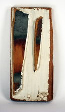 "Laura Bell Selected ""Books"" series Painted found wood and gesso on found wood"
