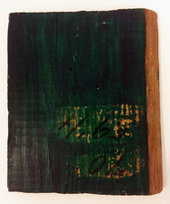 "Laura Bell Selected ""Books"" series Acrylic on found wood"