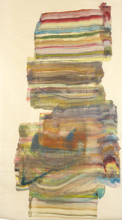 Laura Moriarty On Paper Encaustic on kitakata scroll