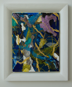 LAUREL SHUTE  Mixed Media Painting acrylic, canvas, photography, vinyl mesh, tree bark