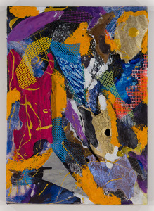 LAUREL SHUTE  Mixed Media Painting mixed material, bark, vinyl mesh, photography
