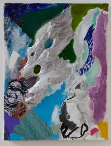 LAUREL SHUTE  Mixed Media Painting on canvas- acrylic, tree water images, mylar, fluorescent color reflecting behind bark