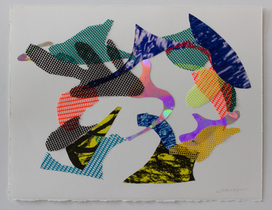 LAUREL SHUTE  Collage  vinyl mesh, tree/water photographs, reflective mylar stitched on arches paper
