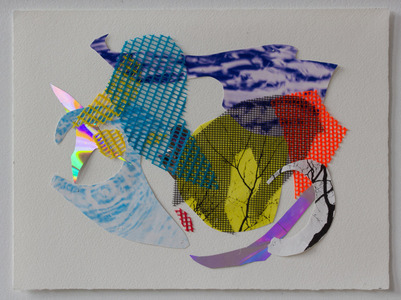 Collage  Collage Collage stitched with nylon filament on arches paper - vinyl mesh, tree/water photographs, reflective mylar