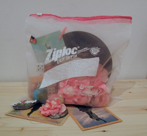 Lauren DiCioccio Ziplock StillLife Hand-embroidery on organza, altered found objects