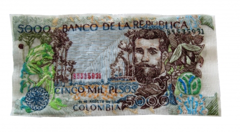 Lauren DiCioccio currency Hand-embroidery on cotton