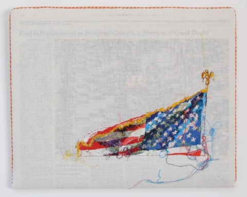 Lauren DiCioccio sewnnews Hand-embroidery on cotton muslin upholstered around the January 3, 2007 edition of The New York Times