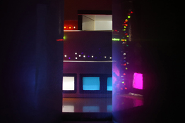 "LAUREN ORCHOWSKI  DIORAMAS ""As Seen By A Free Falling Observer"" Plastic, foam core, polymer, paint, fluorescent bulb"