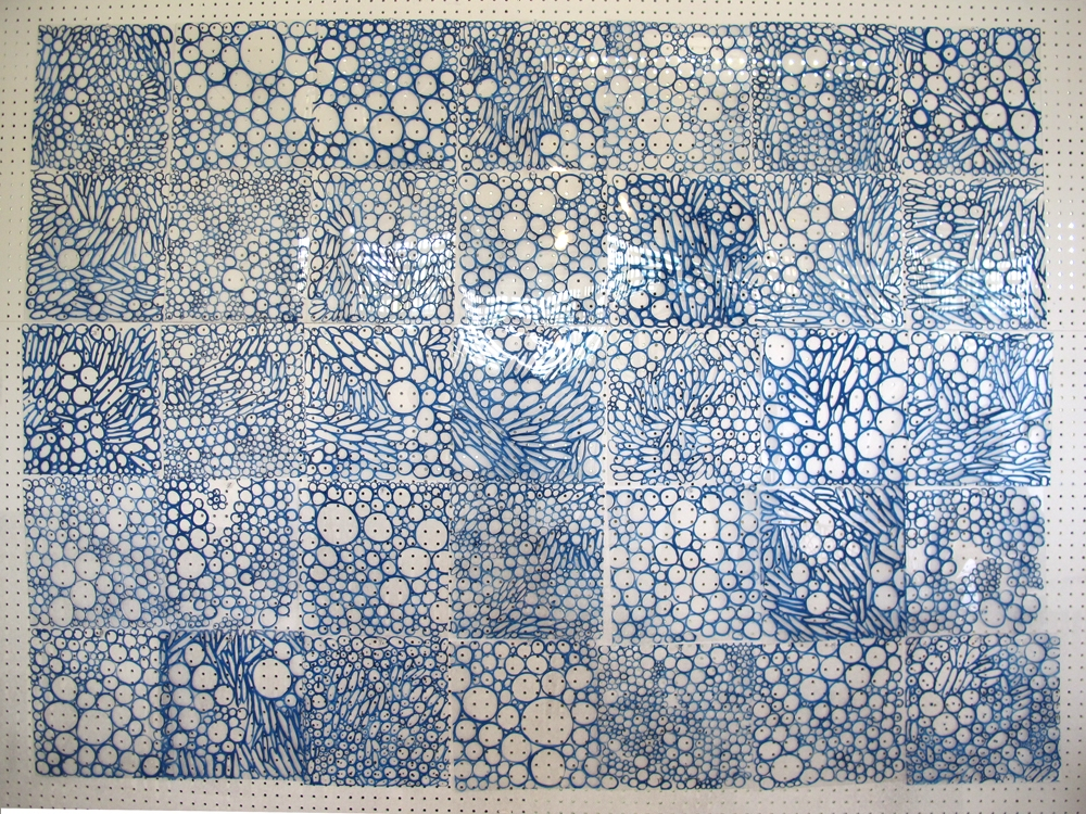 Laurie Olinder Bubbles paint on plastic on pegboard