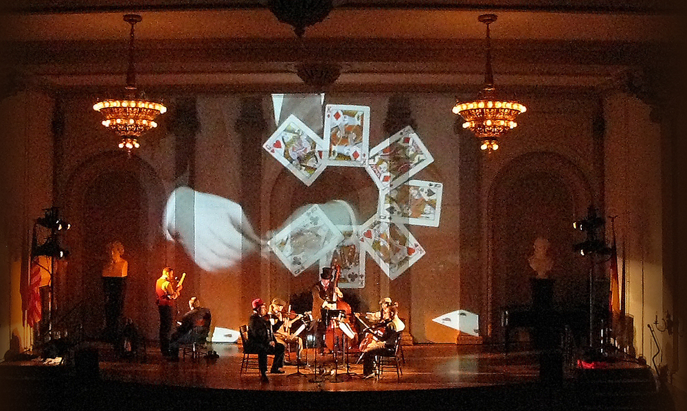 Laurie Olinder Gavin Bryars-Man in a Room Gambling projection design