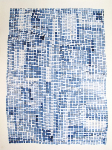 Laurie Olinder Blue Square Flags indigo ink on paper