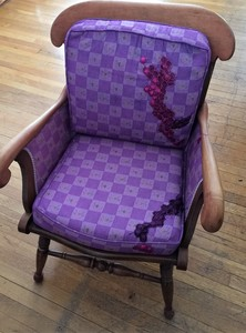 Leigh Maddox Gallery Chair, hand dyed fabric, embroidered salami skin